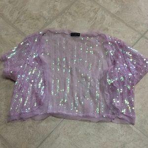 Tops - Pink sequin shrug